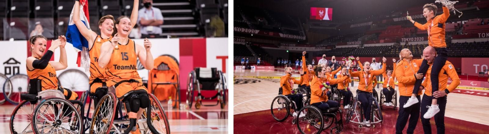 Die niederländische Rollstuhlbasketballmannschaft der Frauen holt bei den Paralympischen Spielen in Tokio Gold.