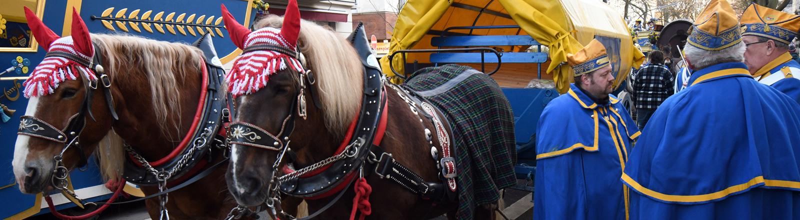 Nordrhein-Westfalen, Köln-Ehrenfeld: Zwei Pferde warten auf ihren Einsatz im Ehrenfelder Dienstagszug. Nach einem Unfall beim Rosenmontagszug ist die Teilnahme von Pferden bei Karnevalsumzügen umstritten.