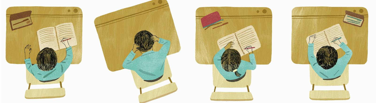 Grafik: Drei Prüflinge sitzen an Tischen. Die Figur in der Mitte stützt den Kopf scheinbar verzweifelt in die Hände.