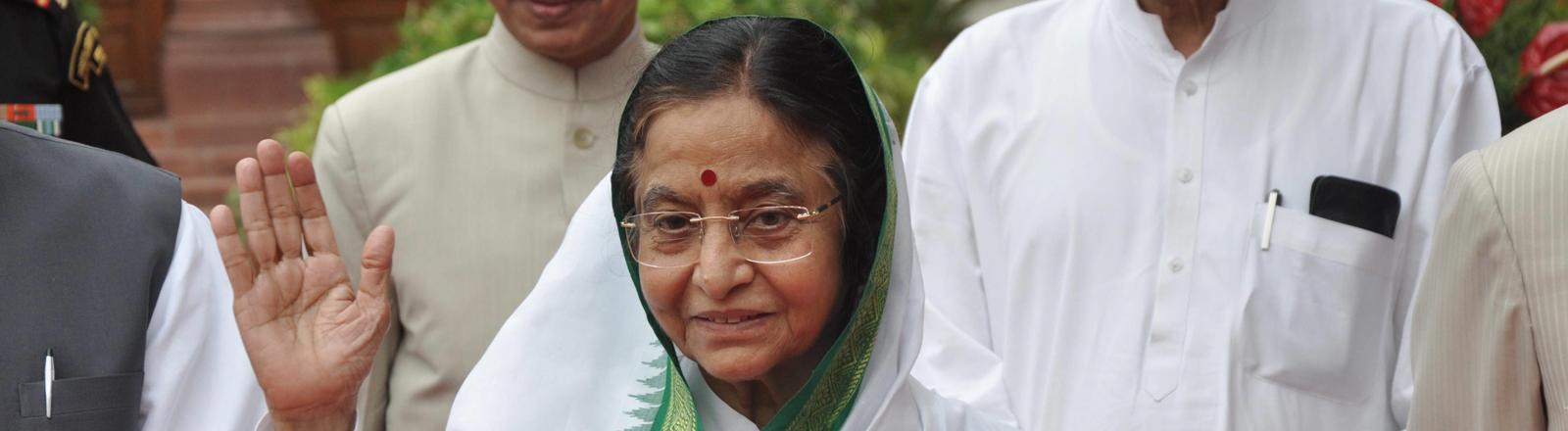 Pratibha Patil im indischen Parlament in Dehli am 23.07.2012.
