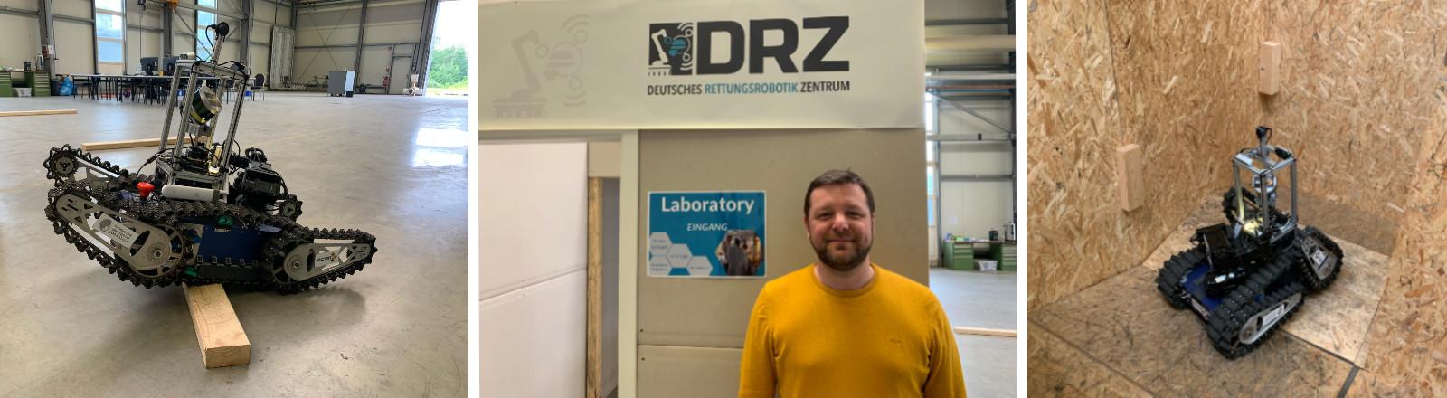 """Rettungsroboter """"Asterix"""" im Testeinsatz / Robert Grafe, Geschäftsführer des Deutschen Rettungsrobotik Zentrums (DRZ) in Dortmund"""
