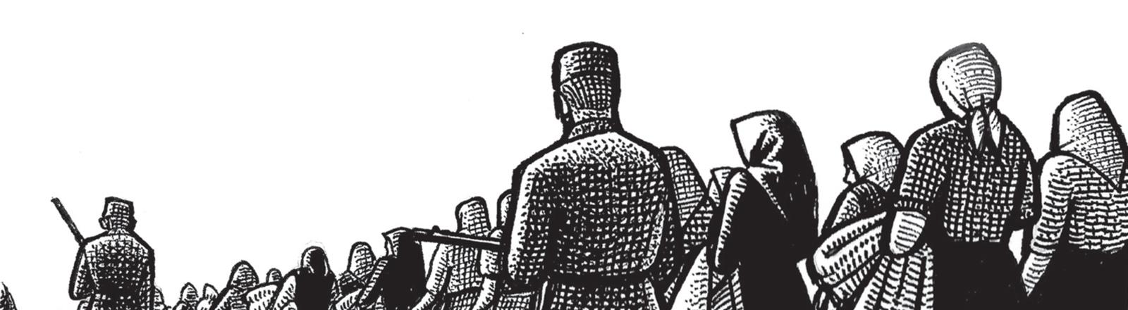 Zeichnung: Soldaten und Flüchtlingstrack