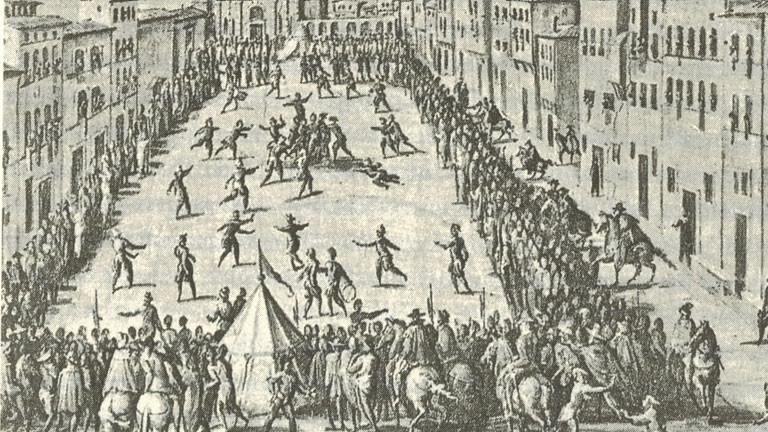 Fußballspiel im Mittelalter in Florenz