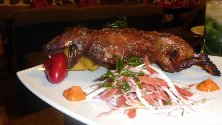 Gegrilltes Meerschweinchen in Peru.