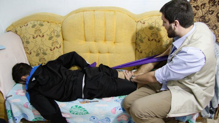 Der Syrer Mohammed wurde bei einem Bombenanschlag verletzt.