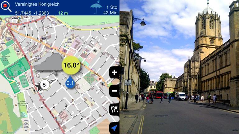 Wetter Apps im Test: Oxford bewölkt und regnerisch, in Wirklichkeit ist es recht heiter in der Universitätsstadt.