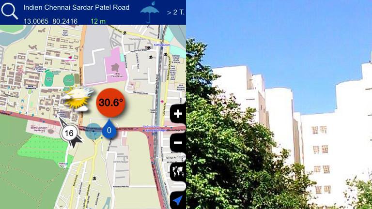 Wetter Apps im Test: Indien eher bewölkt, in Wirklichkeit zeigt sich ein strahlend blauer Himmel.