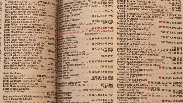 Ein aufgeschlagenes Telefonbuch mit isländischen Namen und Nummern.
