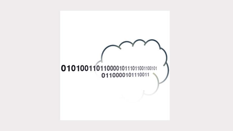 """Logo des Projekts """"Speichern unter"""": In einer Wolke stehen zwei Zahlenreihen aus Nullern und Einsern."""
