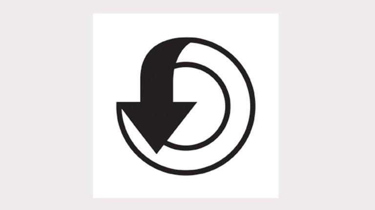 """Logo des Projekts """"Speichern unter"""": ein Ende eines Kreises geht in einen Pfeil über."""