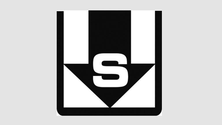 """Logo des Projekts """"Speichern unter"""": ein schwarzer Pfeil mit dem weißen Großbuchstaben S zeigt nach unten, umrandet von einem schwarzen Rahmen, oben offen."""