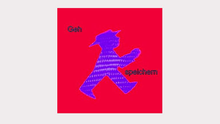 """Logo des Projekts """"Speichern unter"""", auf rotem Hintergrund ein lila Ampelmännchen verbunden mit den Worten """"Geh speichern""""."""