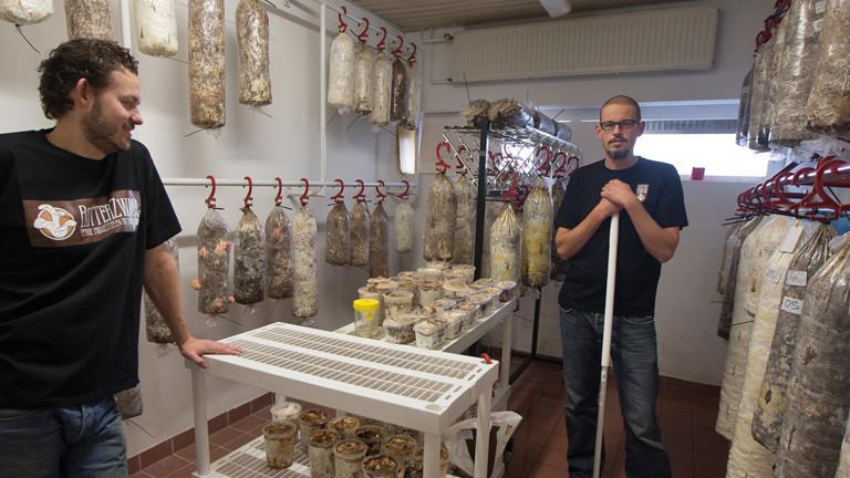 Siemen Cox und Mark Slegers stehen in einer alten Umkleide. An den Wänden hängen Plastiktüten an Haken, die an dicke Würste erinnern.