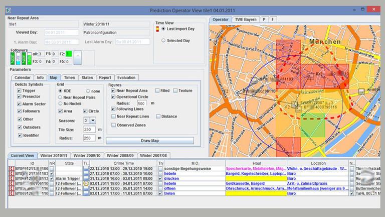 Screenshot der Benutzeroberfläche der Software Precobs. Rechts im Bild ist ein Ausschnitt eines Stadtplans zu sehen mit Rechtecken markiert. Links und unten sind verschiedene Eingabefelder, die ausgefüllt sind.