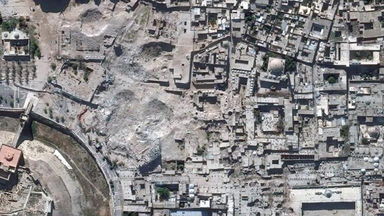 Die Satellitenaufnahme zeigt die Altstadt Aleppos nach den Zerstörungen durch den Bürgerkrieg (2014).
