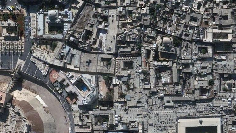 Die Satellitenaufnahme zeigt die Altstadt Aleppos vor der Zerstörung durch den Bürgerkrieg 2010.