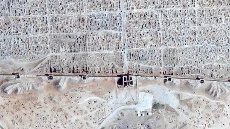 Die Ruinen der griechischen Stadt Dura Europos, gegründet 300 v. Chr., nach der Zerstörung im Bürgerkrieg 2014.