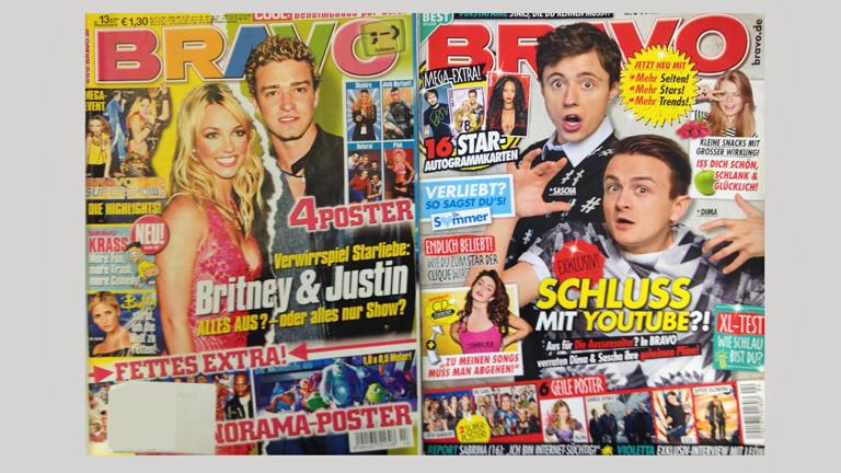 Zwei Bravo-Hefte liegen nebeneinander. Ein altes und ein neues.
