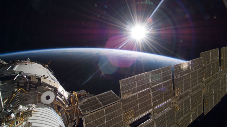 Blick von der Internationalen Raumstation ISS auf die Erde.