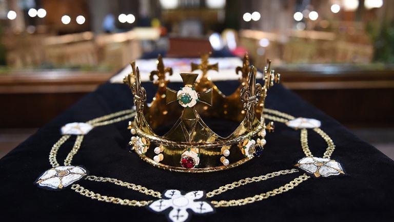 Drinnen ist schon alles vorbereitet für die zeremonielle Bestattung von König Richard III.