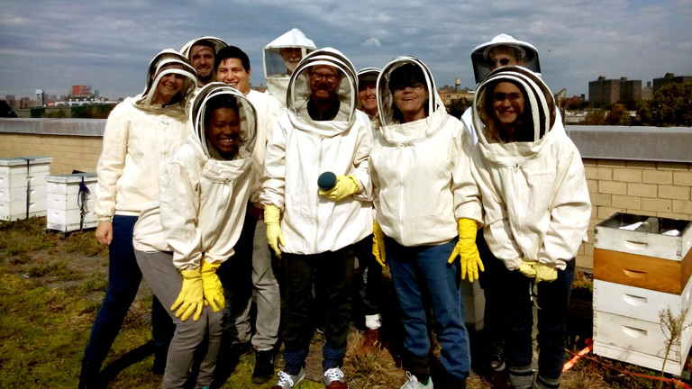DRadio-Wissen-Reporter Christian Schmitt beim Anfängerkurs der New York City Beekeepers Association.