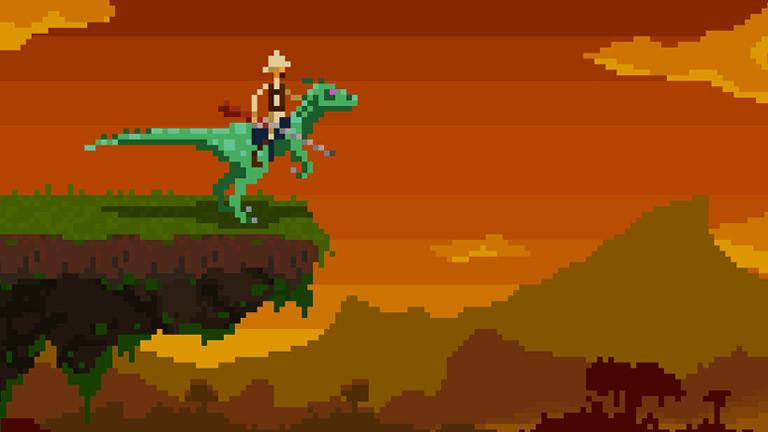 Spiel in Pixeloptik: Cowboy reitet auf Saurier