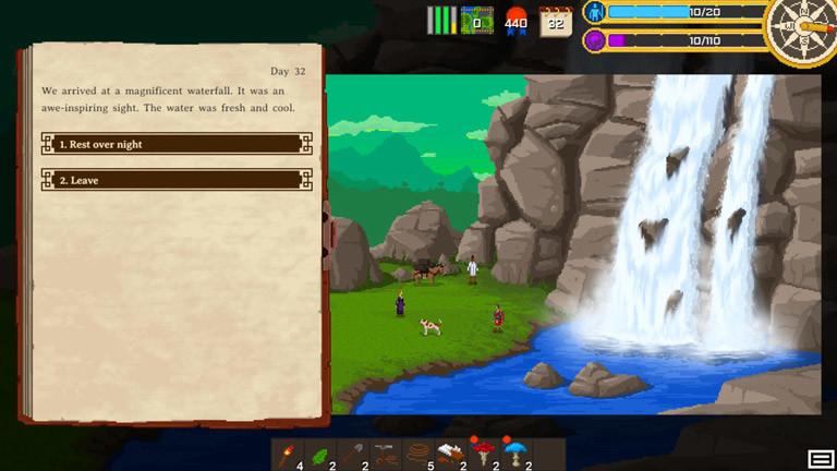 Ansicht Spiel Curious Expedition. Spielmenü und ein Wasserfall