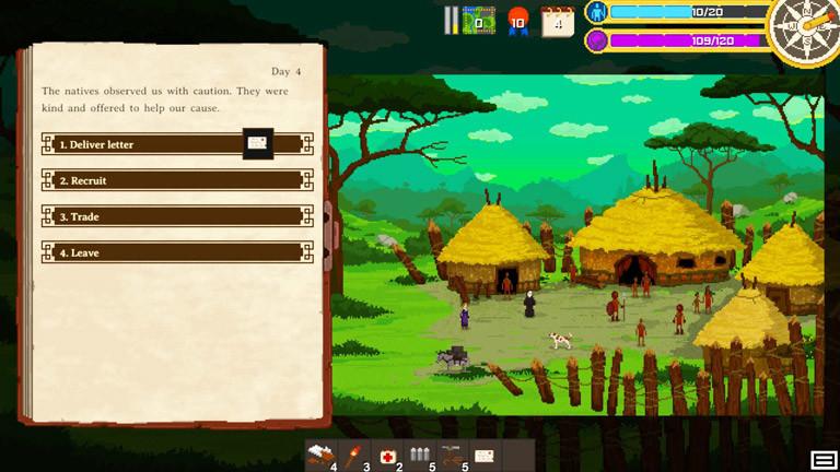 Ansicht Spiel. Pixelige Grafik zeigt das Auswahl-Menü und ein Dschungel-Dorf.