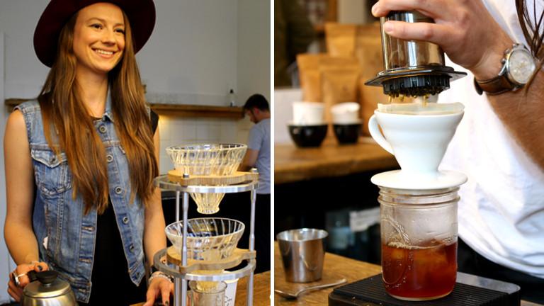 Lnks eine junge Frau mit eigener Kaffeekonstruktion, rechts sieht man einen komplizierten Aufbau mit Kaffeefilter