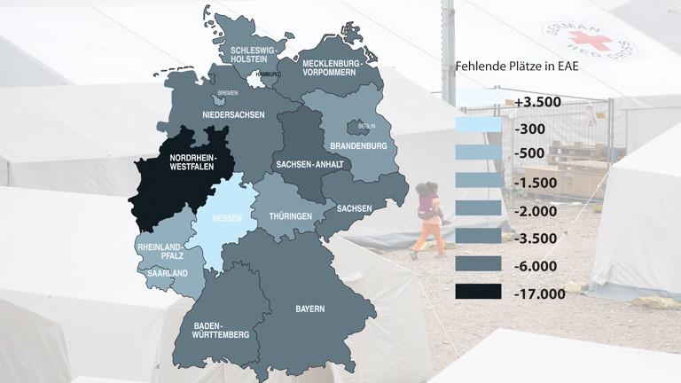 Rund 50.000 Plätze in den Erstaufnahmeeinrichtungen fehlen bundesweit. Allein in NRW fehlen ca. 17.000 Plätze.