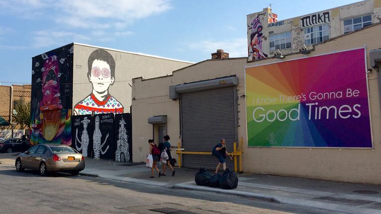 Immer mehr Murals in Bushwick, Brooklyn, New York, werden von Werbung verdrängt.
