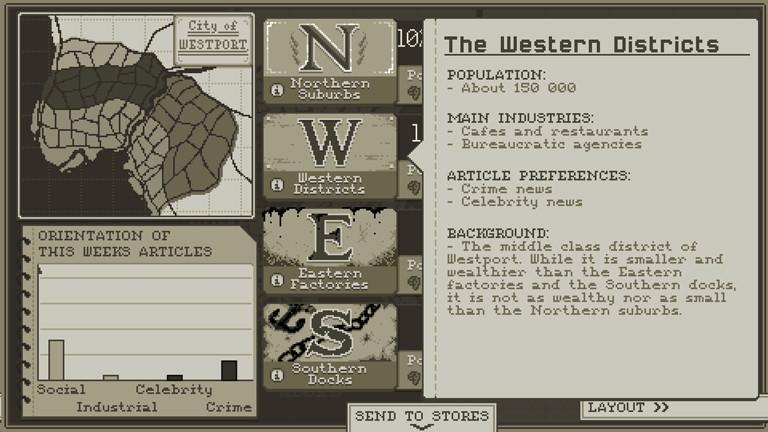 """Der Spieler entscheidet auch, in welche Stadtteile er den """"Westport Independent"""" ausliefern will."""