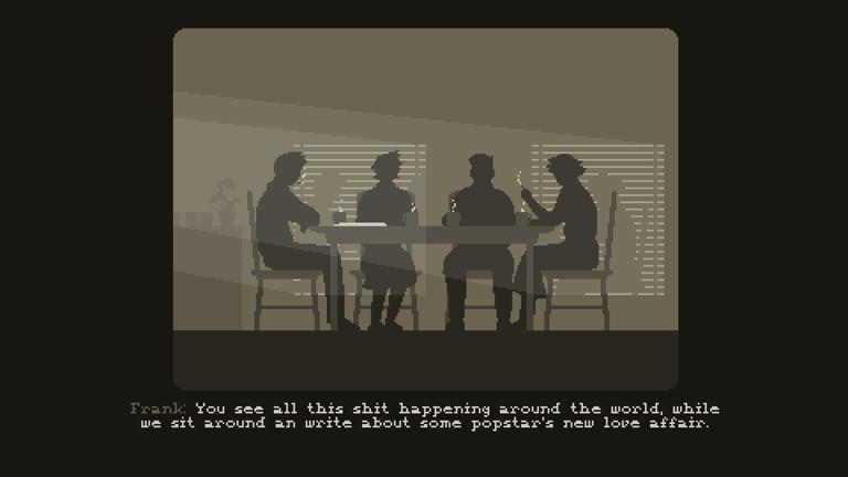 Die Mitarbeiter treffen sich täglich miteinander und diskutieren die politische Lage und die Entscheidungen des Spielers.
