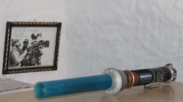 Laserschwert mit Fotos vom Dreh