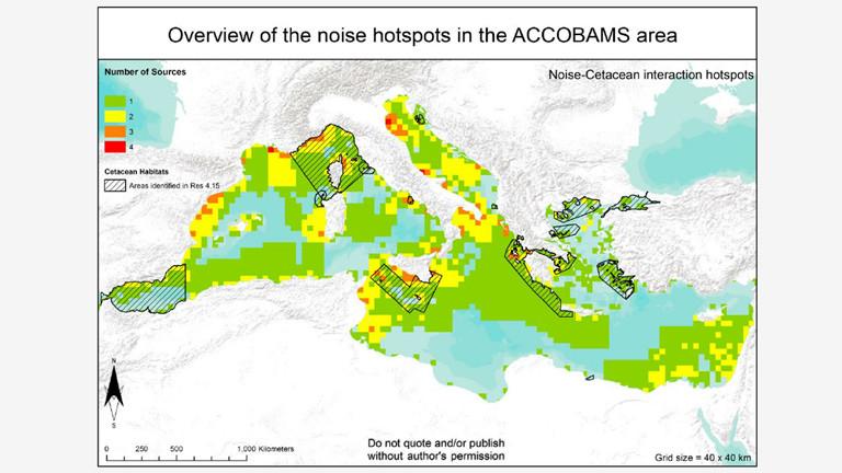 Lärmhotspots im Mittelmeer