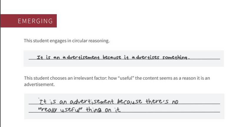 Antworten von Schülern und Studenten auf die Frage, ob es sich um Werbung handelt.