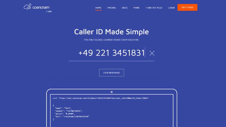 Screenshot von der Webseite Opencnam.com