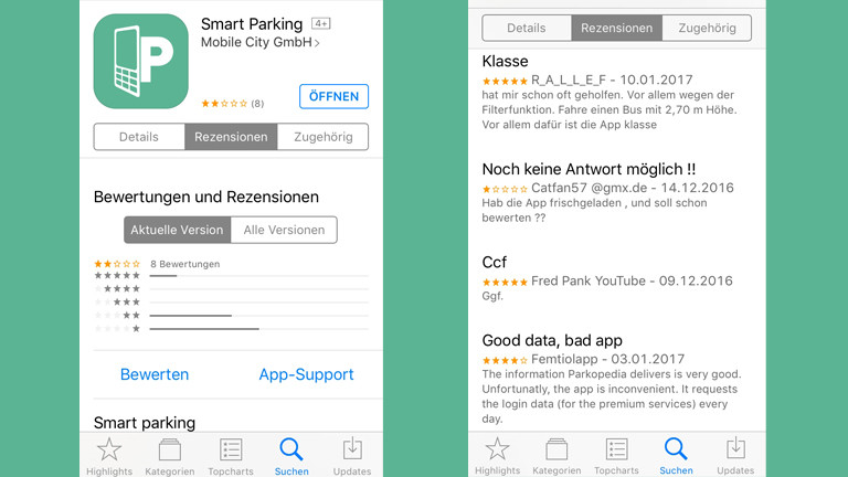 "Screenshots der Park-App ""Smart Parking"""