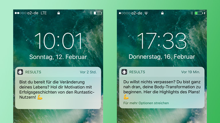 Screenshots der App Runtastic Results.