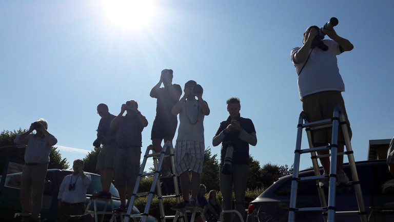 Planespotter fotografieren auf Leitern stehend.