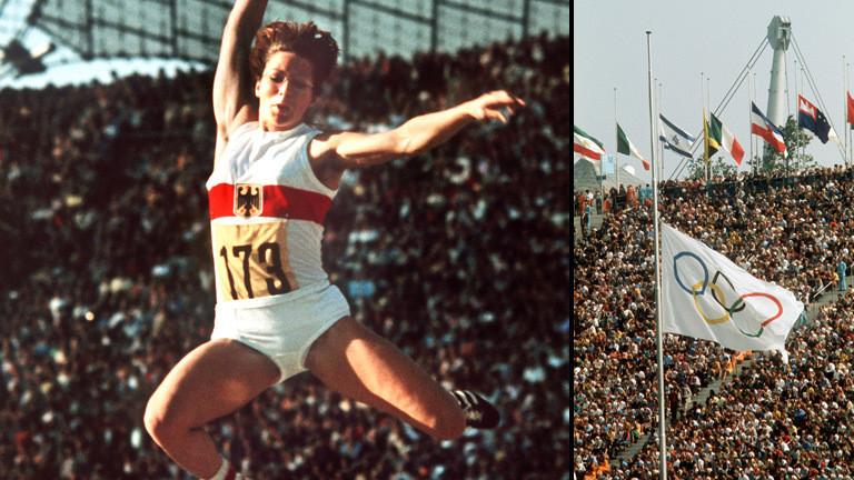 Die deutsche Leichtathletin Heide Rosendahl während der Olympiade beim Sprung. Mit einer Weite von 6,78 m errang sie bei den Olympischen Spielen in München am 2.9.1972 die Golddmedaille im Weitsprung.