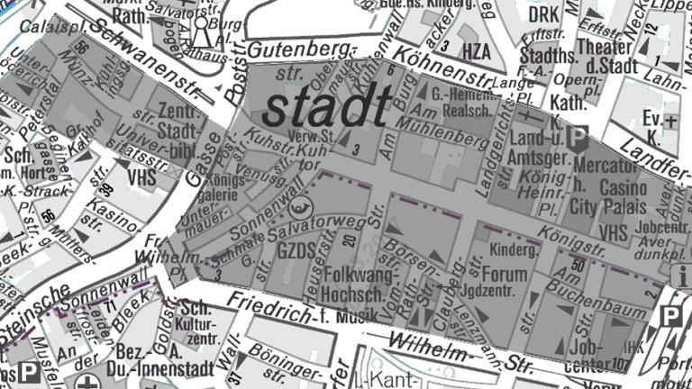 Plan der Stadt Duisburg.