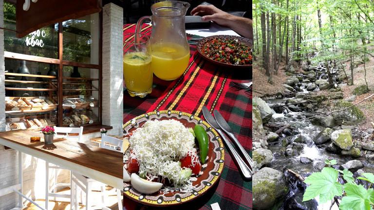 Ein gedeckter Tisch, Bachlauf im Wald und die Außenansicht eines Cafés.