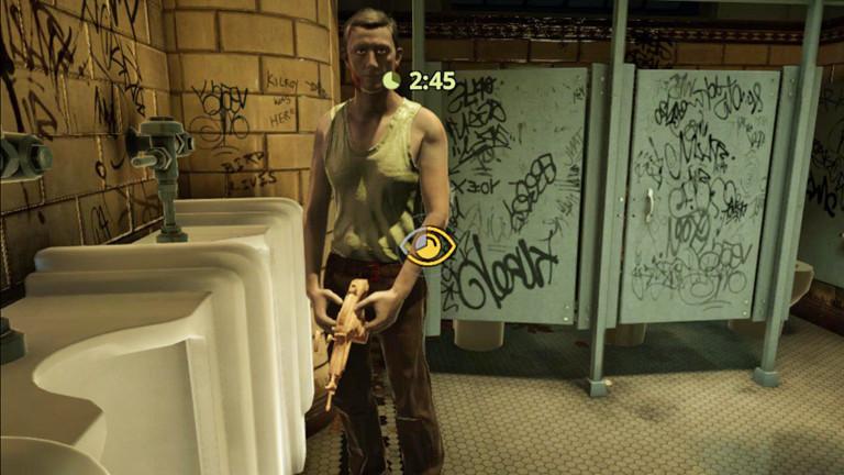 """In """"The Tearoom"""" von Robert Yang hat der Spieler Oralsex auf einer öffentlichen Toilette - mit Männern mit Maschinengewehr-Penissen."""