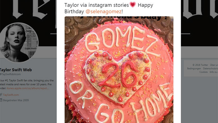 Sängerin Taylor Swift gratuliert Selena