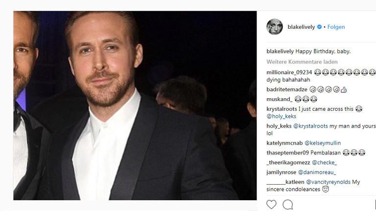 Schauspieler Blake Lively gratuliert ihrem Mann Ryan Reynolds mit einem Foto von Ryan Gosling zum Geburtstag.