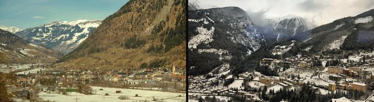 Landschaft in den Alpen während der 13-stündigen Zugfahrt von Berlin nach Zagreb.
