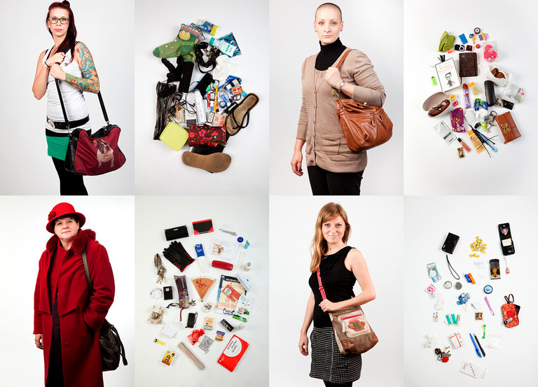 Frauen und ihre Handtaschen - Collage.