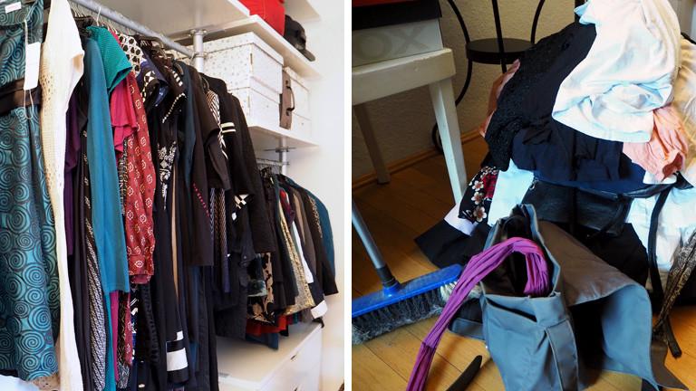 Collage: Rechts ein aufgeräumter Kleiderschrank, links ein ausgemisteter Kleiderhaufen