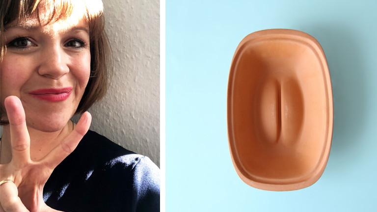 Collage: Gunda Windmüller, Schamlippenzeichen, Objekt Schamlippe
